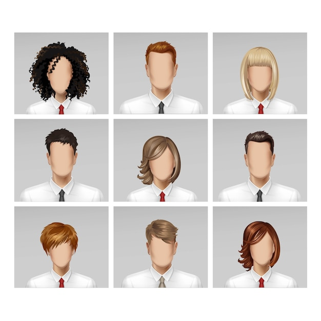 Business male female face avatar profile head hair tie icon set  on background Premium Vector