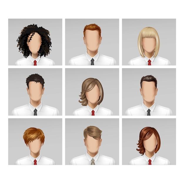Бизнес мужской женский лицо аватар профиля головы волосы галстук значок набор на фоне Premium векторы