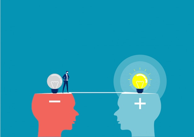 Business man across between head negative to head positive thinking concept Premium Vector