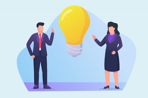 大きな電球のアイコンで新しいアイデアの概念について話しているビジネスの男性とビジネスの女性 Premiumベクター