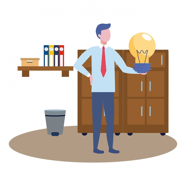 Business man avatar of cartoon Free Vector
