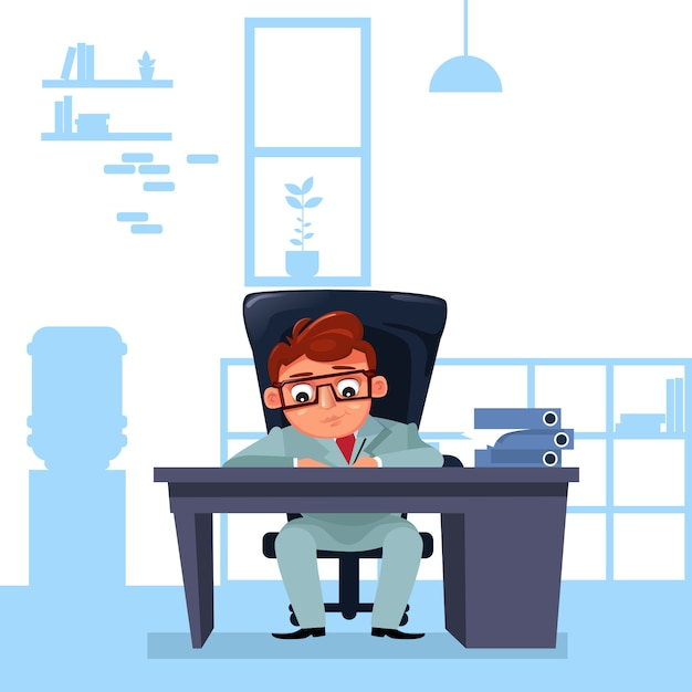 Business man boss sit at office desk working with documents Premium Vector