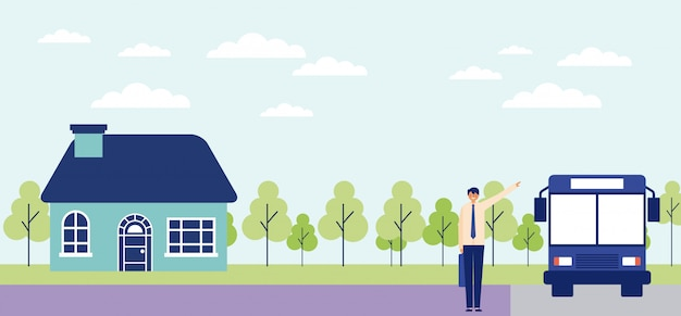 Business man in bus stop leaving his house, forest Free Vector