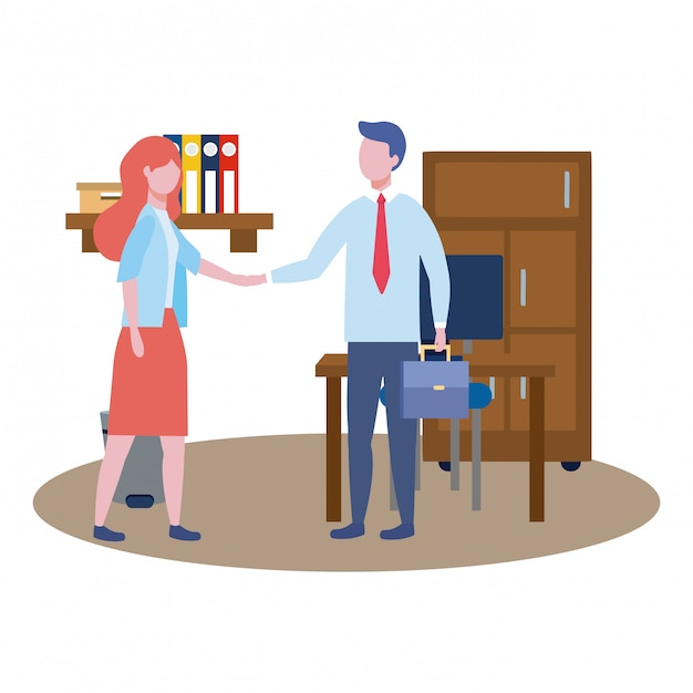 Business man and business woman avatar Free Vector