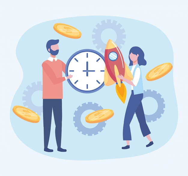 Business man and business woman with clock and rocket with coins Free Vector
