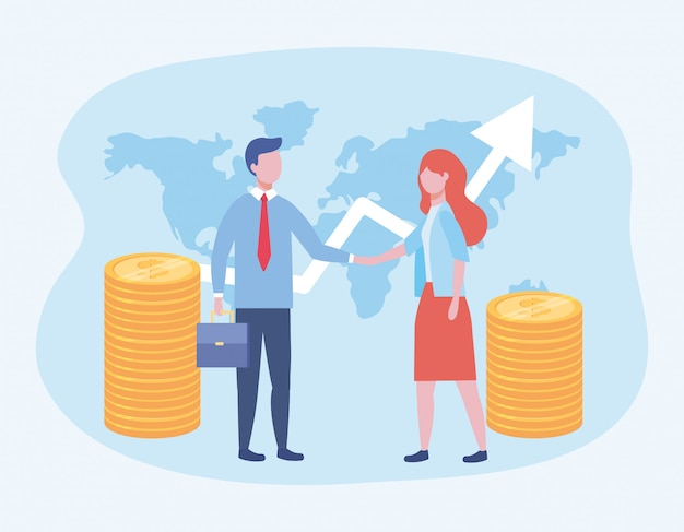 Business man and business woman with coins and arrow with suitcase Free Vector