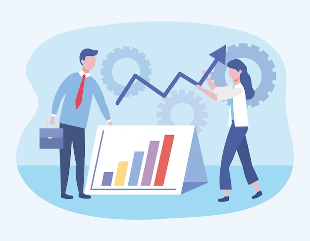 Business man and business woman with statistics bar and gears Free Vector