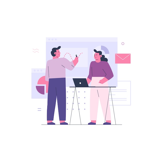 Business man and business woman working together as a team Premium Vector