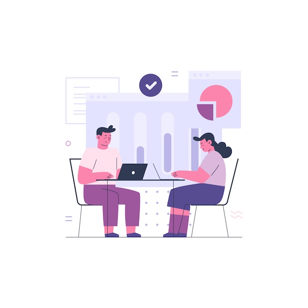 Business man and business woman working together Premium Vector
