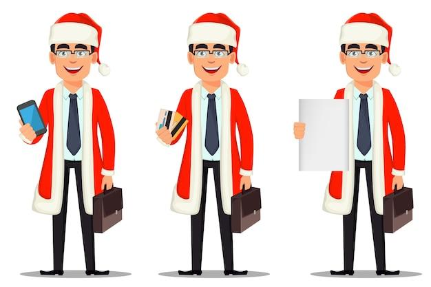 산타 클로스 의상에서 비즈니스 남자 만화 캐릭터 프리미엄 벡터