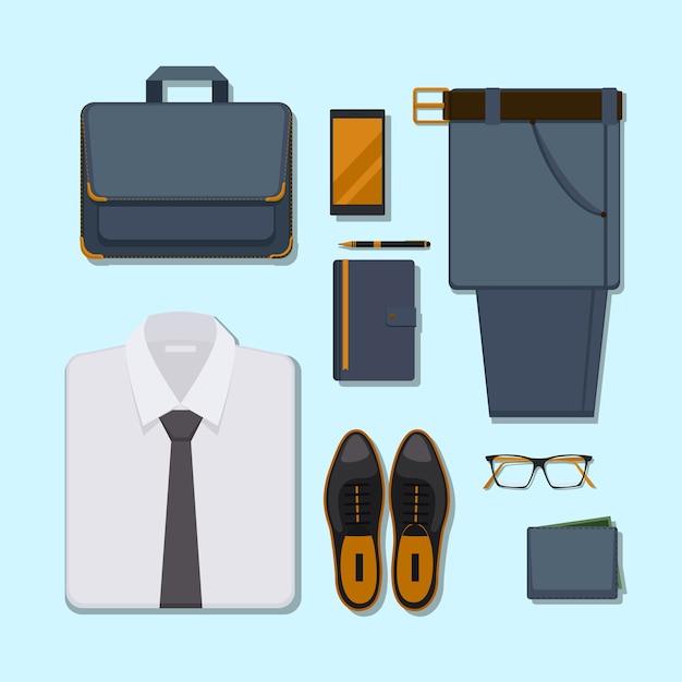 ビジネスマンのカジュアルな服装。ズボン、メガネ、スマートフォン、ペン、財布付きのアクセサリーベルト。 無料ベクター