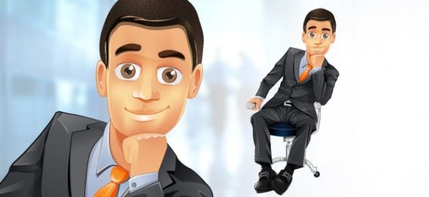 Business man character in a chair.