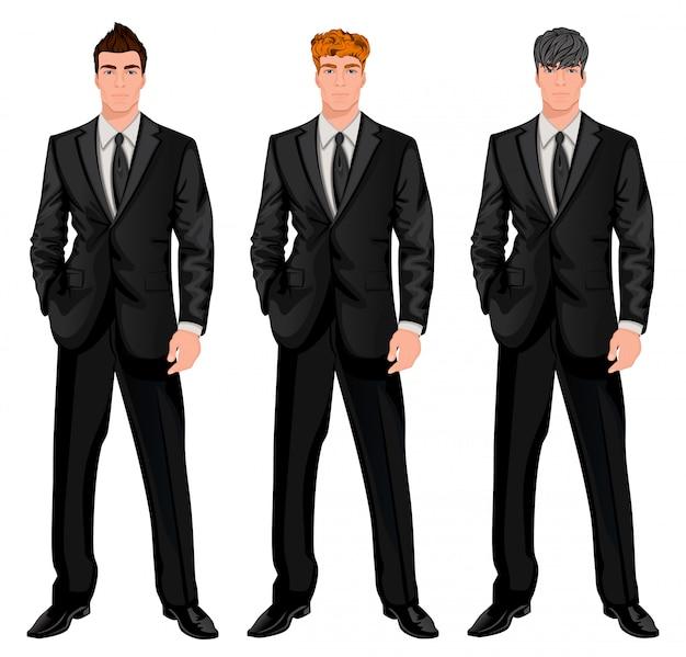 Business man character set Premium Vector