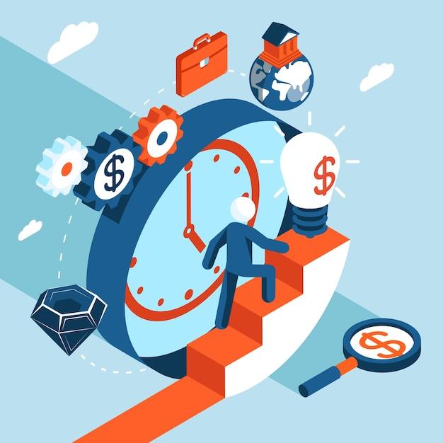 ビジネスマンは経済的な成功への階段を上る。ビジネスコンセプト、目標、そして成功に向けて 無料ベクター