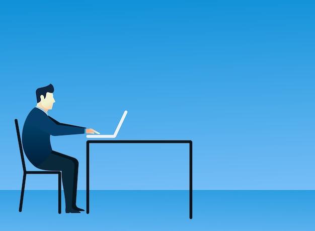Business man concept of people sit using laptop Premium Vector