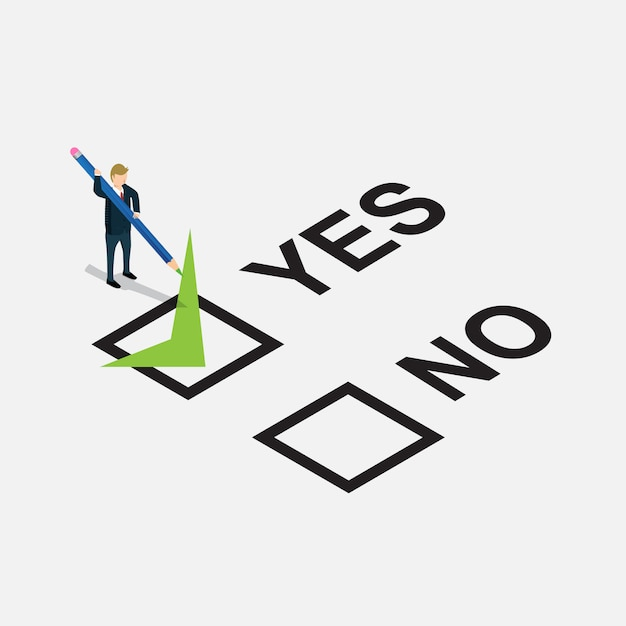 Business man designed yes or no in check list Premium Vector