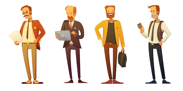 Business man dress code 4 retro cartoon icons set with businessmen Free Vector