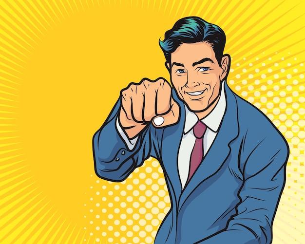 Деловой человек возбужден держать руки поднятыми руками Premium векторы