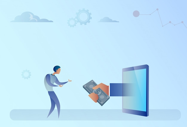 Business man getting money from digital tablet crowdfunding investment concept Premium Vector