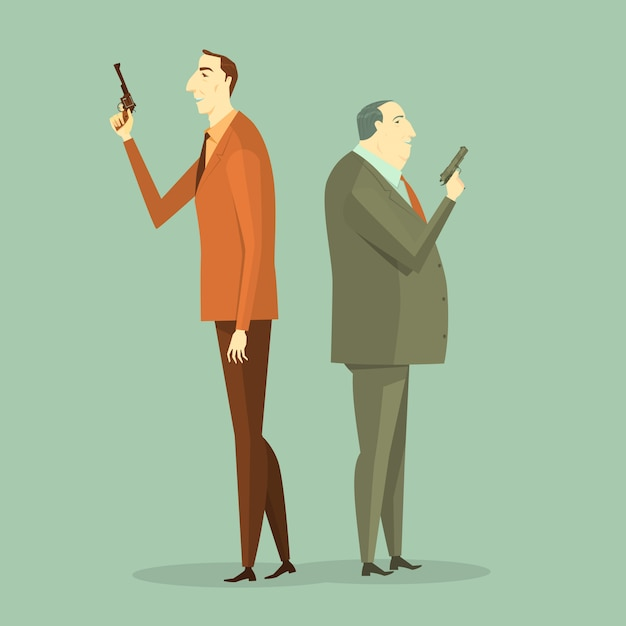 Business man to gunfight. illustration business concept corporate of challenge. Premium Vector