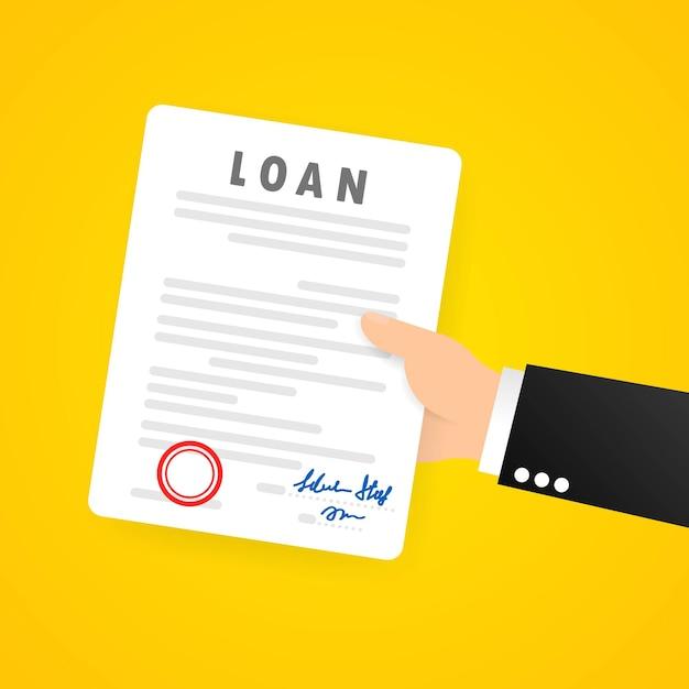 ビジネスマンの手は、契約書または署名された契約書と法的文書を保持します Premiumベクター