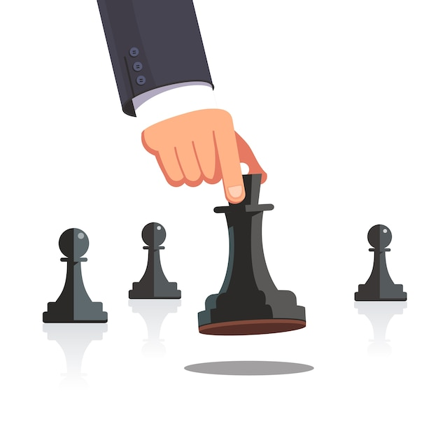Business man hand making a strategic chess move Free Vector