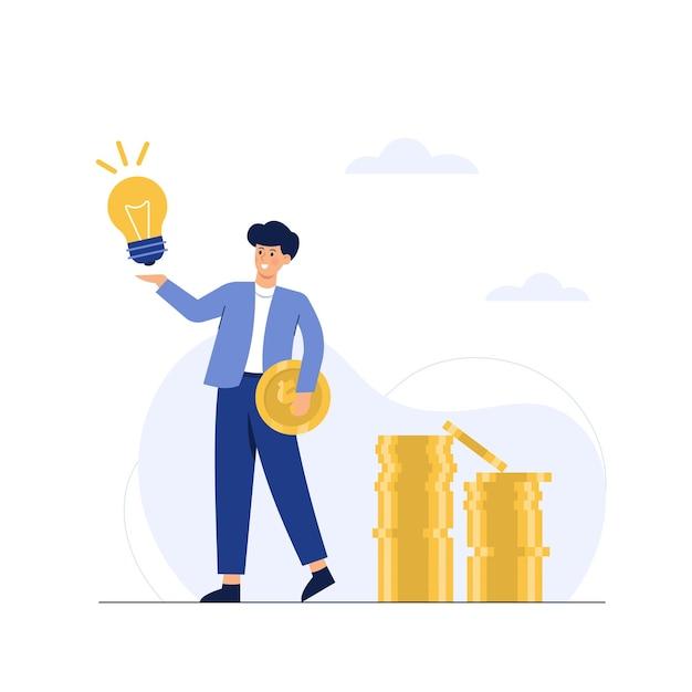 Un uomo d'affari ha un'idea con una moneta d'oro in mano Vettore gratuito