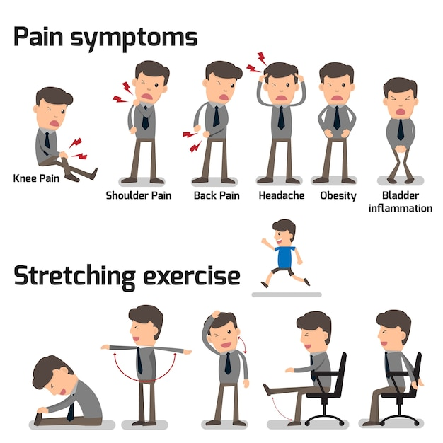 Business man have office syndrome Premium Vector