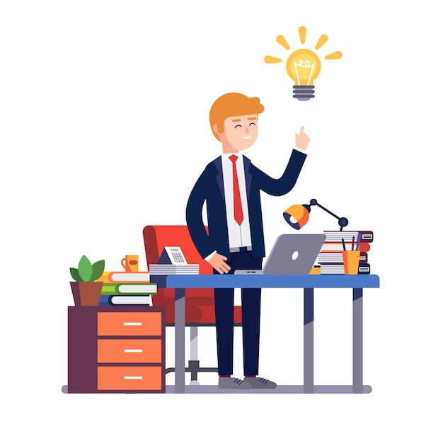 Business man having a new bright solution idea Free Vector