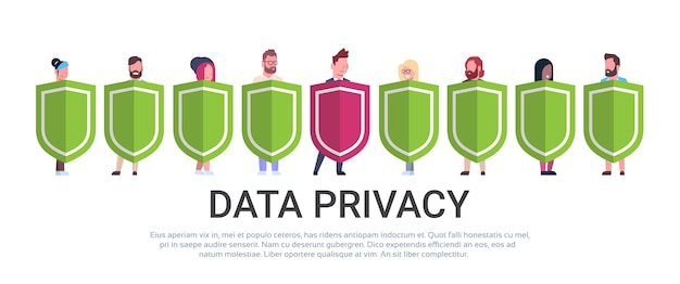 Business man hold shield mix race team gdpr data privacy Premium Vector