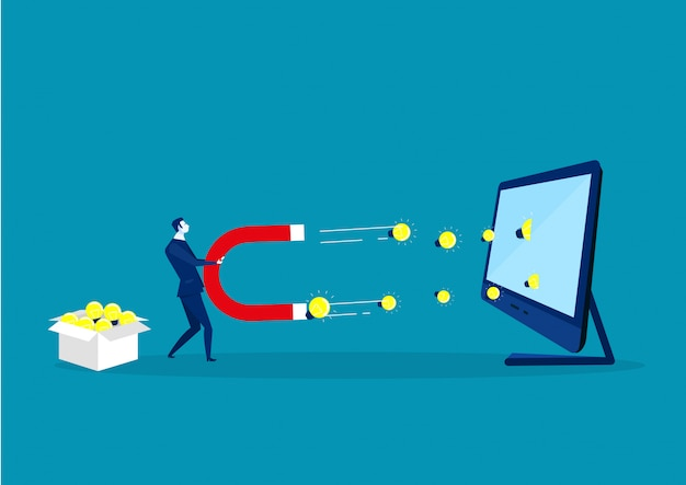Business man holding a big magnet bulb light on laptop computer Premium Vector