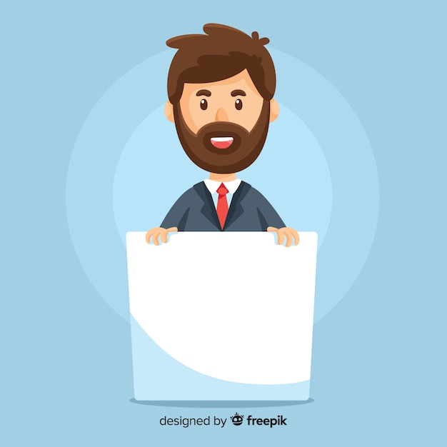 Business man holding blank banner Free Vector