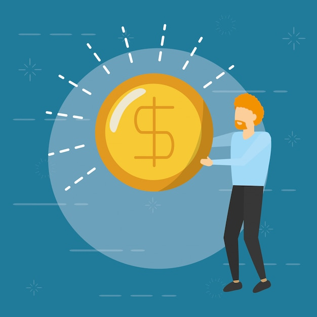 Business man holding coin with money sign,  flat style Free Vector