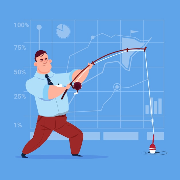 Business man holding fishing tackle Premium Vector