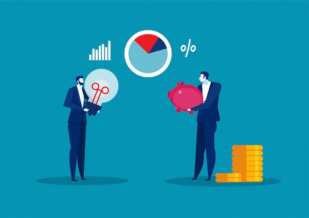 Business man holding piggy bank money investment and trade concept flat  illustration Premium Vector
