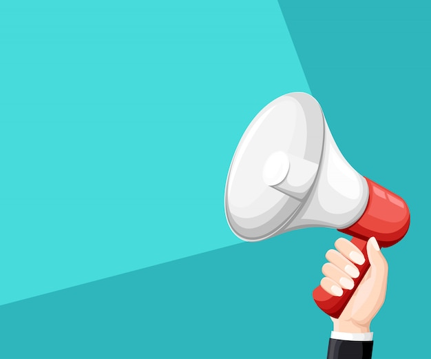 Business man holding red and white megaphone  illustration  on turquoise background with place for your text website page and mobile app Premium Vector
