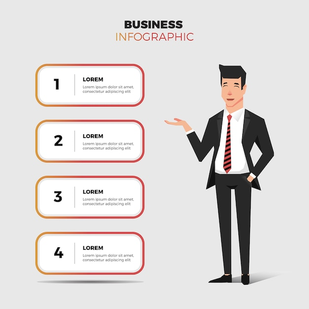 Business man and infographic Premium Vector