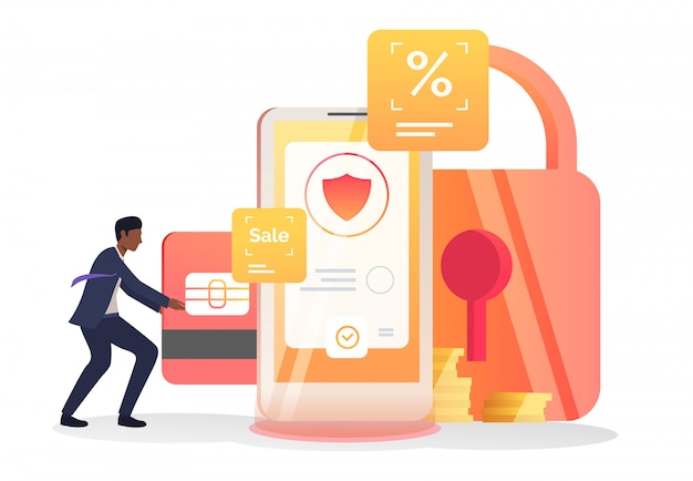 Business man inserting credit card into cellphone Free Vector