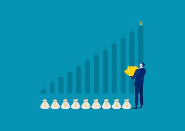 Business man investing money on moneybox money savings concept Premium Vector