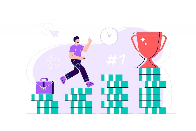 Business man is climbing stairs from stacks of coins toward his financial goal. personal investment and pension savings concept. flat style modern design  illustration for web page, cards. Premium Vector