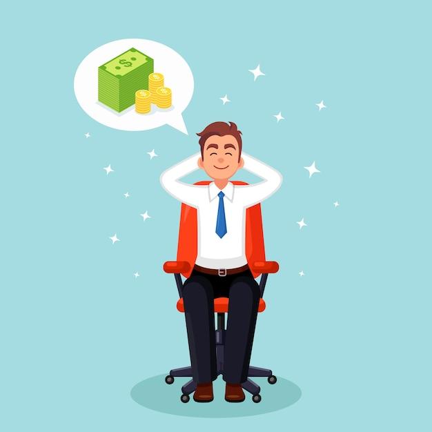 Деловой человек расслабляется и мечтает о стопке денег в офисном кресле. финансы, инвестиции Premium векторы