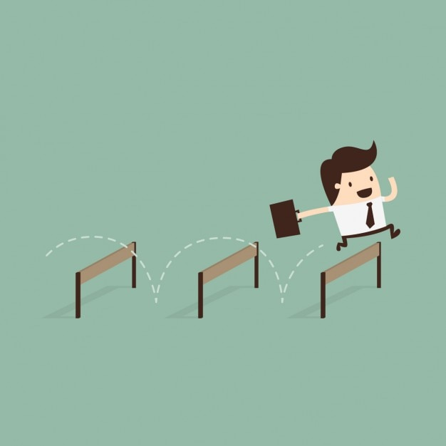 Business man jumping obstacles