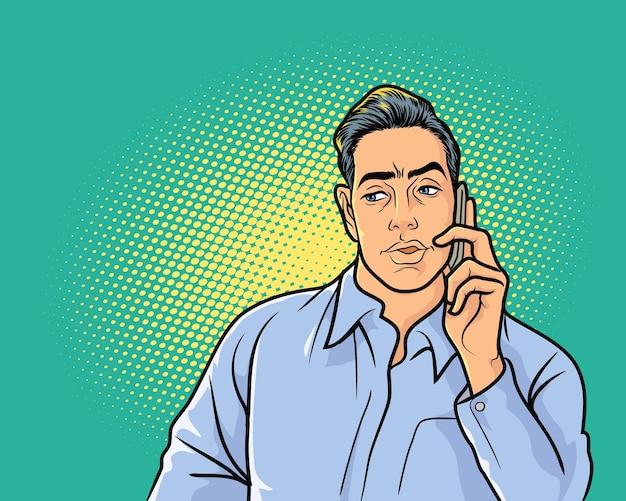 전화로 직장 대화를 듣고 무언가를 두려워하는 비지니스 맨 프리미엄 벡터