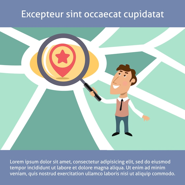 Business man location search concept Free Vector