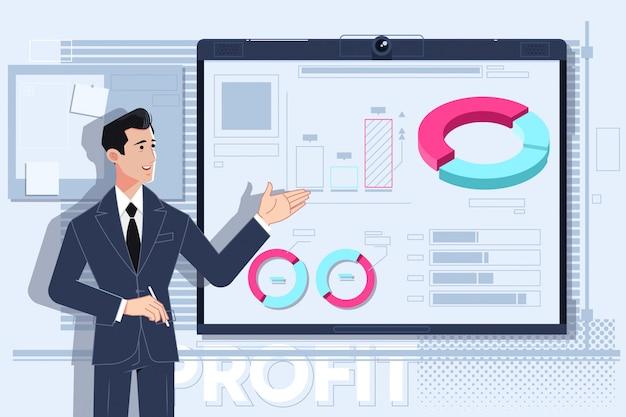 Business man making a presentation Premium Vector