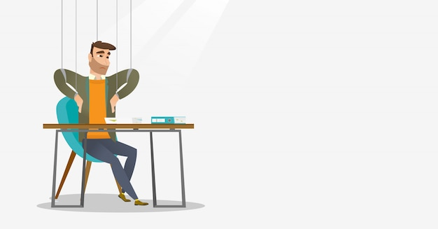 Business man marionette on ropes working. Premium Vector