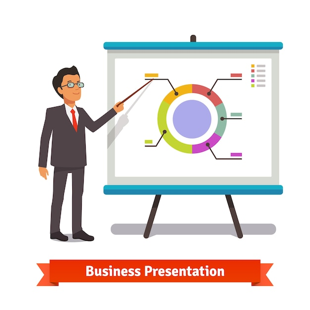 Business man mentor delivering presentation speech Free Vector