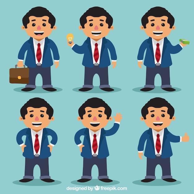 Business man pack with different\ postures