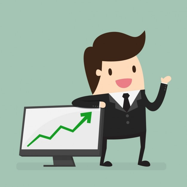 Business man in a presentation Free Vector