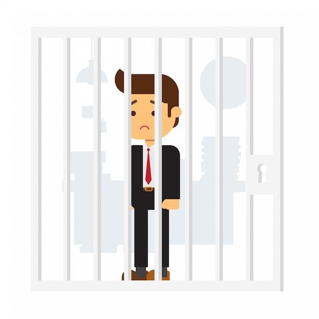 Business man in prison Premium Vector